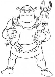 kleurplaat Shrek en de ezel (3)