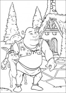 coloring page Shrek and the donkey (4)