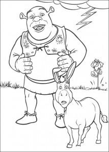 kleurplaat Shrek en de ezel