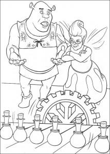 kleurplaat Shrek en de goede fee