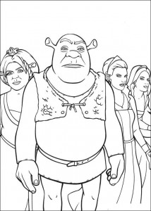 coloring page Shrek and the princesses