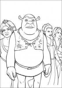 kleurplaat Shrek en de prinsessen