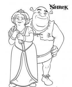 kleurplaat Shrek en Fiona (2)
