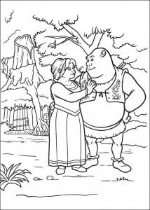 Dibujo para colorear Shrek y Fiona (3)