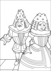 kleurplaat Shrek en Fiona in koninklijke kleren