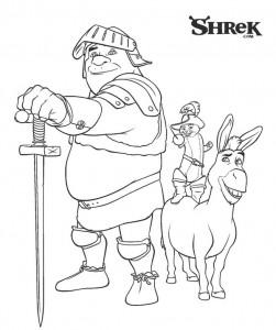 kleurplaat Shrek, Ezel en de gelaarsde kat (1)