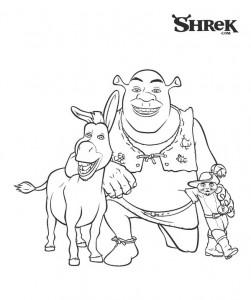 kleurplaat Shrek, Ezel en de gelaarsde kat (3)
