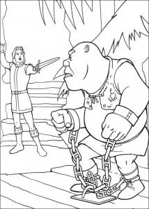 coloring page Shrek caught on stage