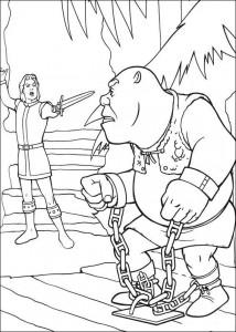 kleurplaat Shrek gevangen op het toneel