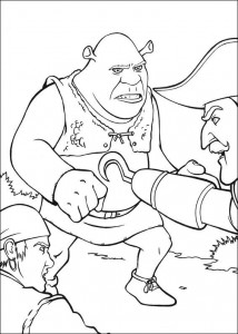 kleurplaat Shrek vecht met Haak