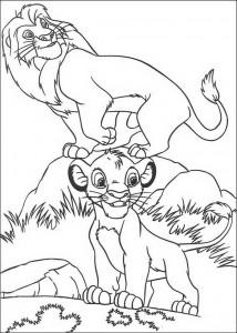 Disegno da colorare Simba e Mufasa (1)