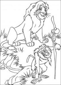 målarbok Simba och Rafiki, den kloka babianen