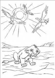 coloring page Simba is thirsty in the desert