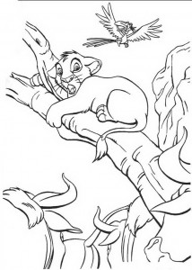 coloring page Simba climbs on a branch