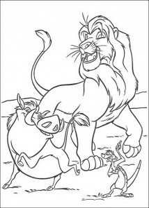 coloring page Simba, Timon and Pumba, the greatest friends