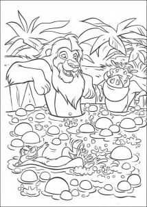coloring page Simba, Timon and Pumba in the bath