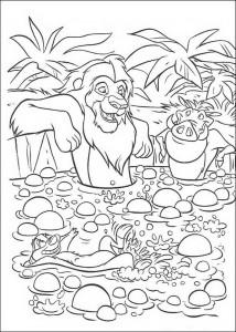 målarbok Simba, Timon och Pumba i badet