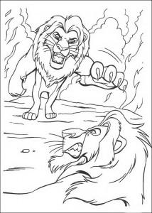 coloring page Simba attacks Scar
