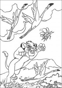 coloring page Simba drives away the animals