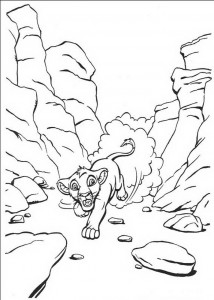 coloring page Simba flyr bort