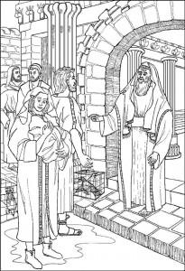 målarbok Simeon berättar för Joseph och Maria om deras barn