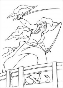 coloring page Sinbad is fighting