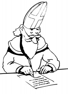 coloring page Sint writes letter
