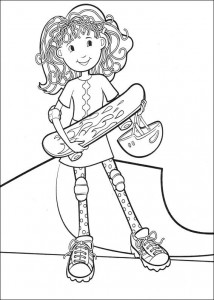 coloring page skateboarding