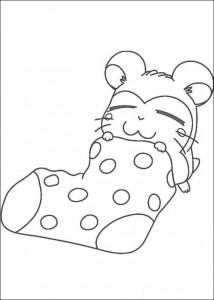 kleurplaat Slapen in een sok