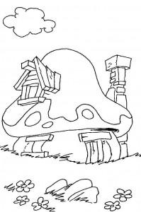 målarbok Smurf hus