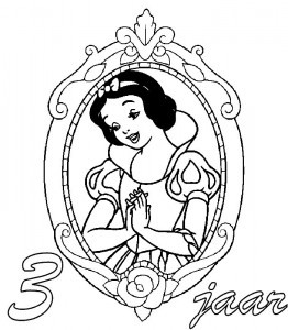 coloring page Snow white 3 year