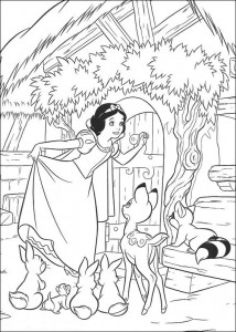 coloring page Snow white at the dwarf house