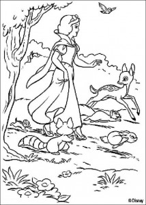 coloring page Snow white and animals