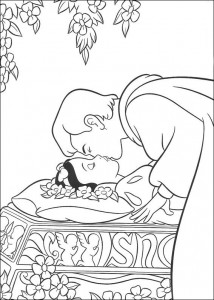 coloring page Snow white is being kissed