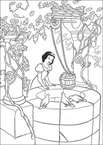 Coloriage Blanche-Neige chante