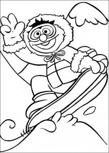 kleurplaat Snowboarden (1)