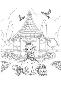sofia coloring page in the garden
