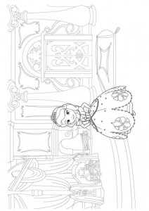 sofia coloring page in her room