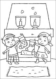kleurplaat Sok bij de schoorsteen