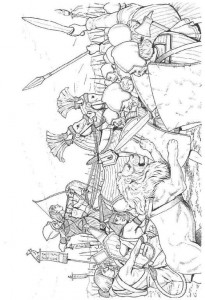 coloring page Soldiers and lions