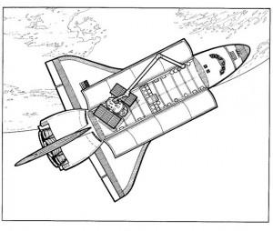 målarbok Space Shutlle