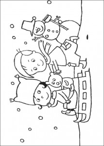 coloring page Playing in the snow