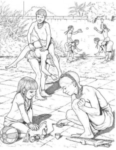 coloring page Children playing
