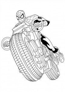 coloring page spider man engine