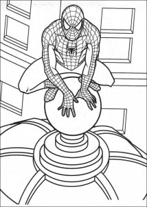 kleurplaat Spiderman op toren