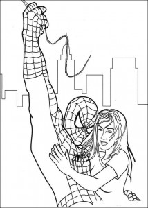 immagine da colorare Spiderman salva la ragazza