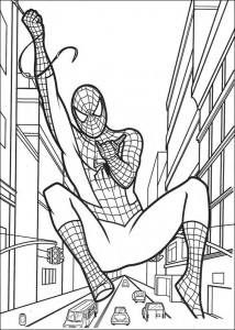 kleurplaat Spiderman slingert