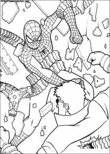 kleurplaat Spiderman vecht