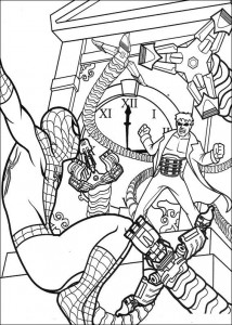 coloring page Spiderman blir angrepet