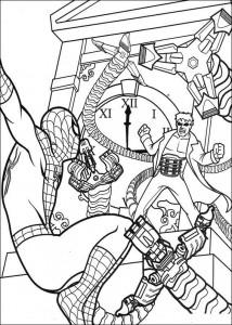 kleurplaat Spiderman wordt aangevallen